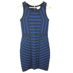 Milly Mitered Stripe Sheath Body con Dress